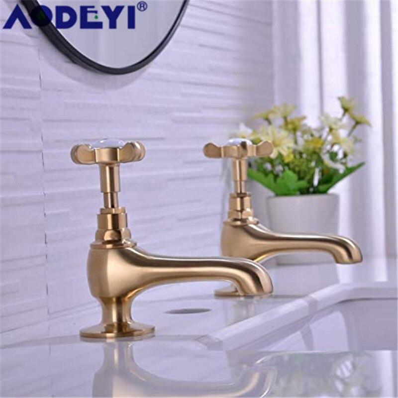 AODEYI robinet de bain en laiton chaud et froid robinets de lavabo classique salle de bain robinet d'évier, or brossé/noir/Chrome, 1 paire, 12-038