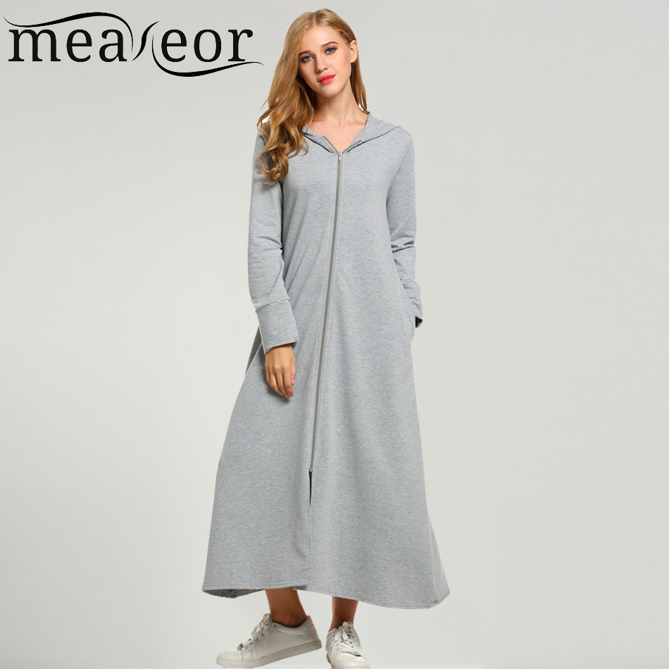 Christmas dress casual - Meaneor Brand Maxi Dress With Big Hooded Women Casual Zip Up Front Loose Fit Solid Long Gown Hoodie Christmas Dress Plus Size