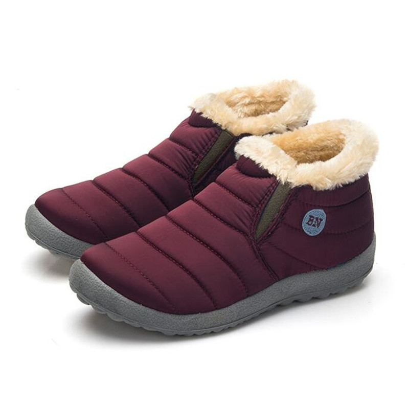 Size35-48 Waterproof Women Winter Shoes Couple Unisex Snow Boots Warm Fur Inside Antiskid Bottom Keep Warm Mother Casual Boots