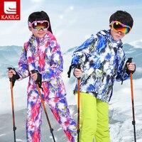 Girl Boy High End Thickening Waterproof Ski Suit Children Girls Warm Snowboarding Coat/jacket+romper Pants 110 160cm