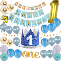 Baby Boy First Birthday Decorations & Party Supplies Blue and Gold Theme Kit Set Cake Topper Party Crown Hats I AM ONE Banner