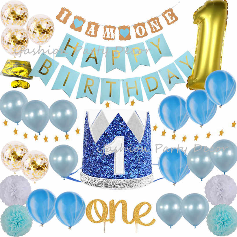 Detail Feedback Questions About Baby Boy First Birthday Decorations Party Supplies Blue And Gold Theme Kit Set Cake Topper Crown Hats I AM ONE