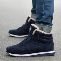 Quanzixuan Men Boots Winter Shoes Snow Casual Men Shoes Flat Antiskid Sneakers Plush Fur Shoes Black