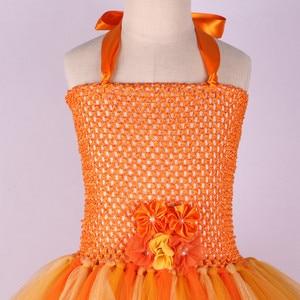 Image 4 - Handmade Flower Girl Tutu Dress for Children Orange Halloween Pumpkin Costume Kids Girl Tulle Performance Birthday Party Dresses