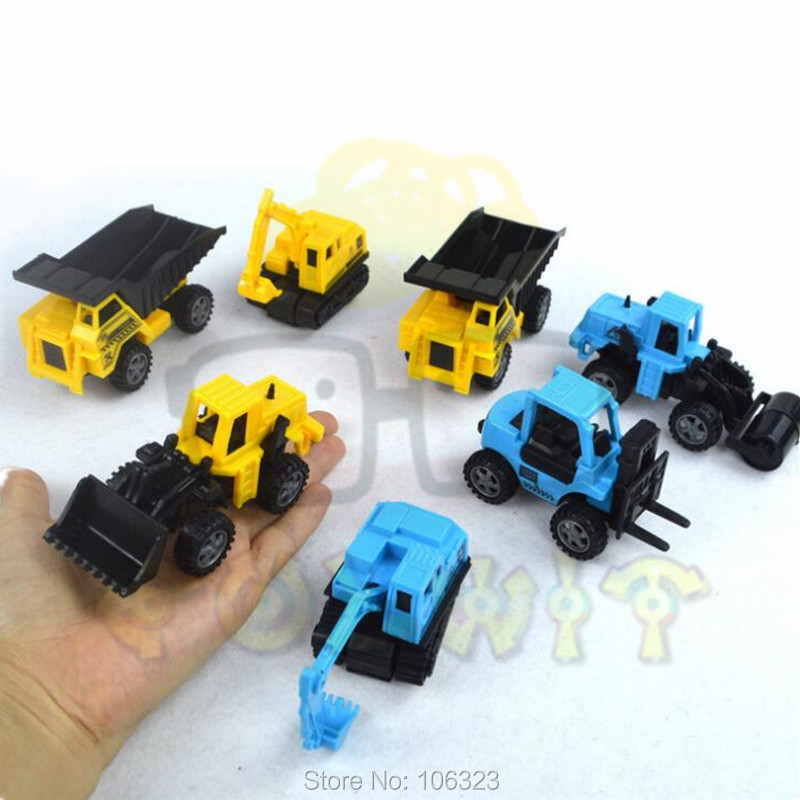 8 PCS Inertial Construction Machines Toy Discast Excavator Digger Crane Loader Forklift Road Roller Drilling Vehicle