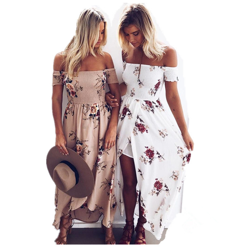 Boho Chic Style Long Dress Women Off Shoulder Beach Summer Dress Floral Print Vintage Chiffon