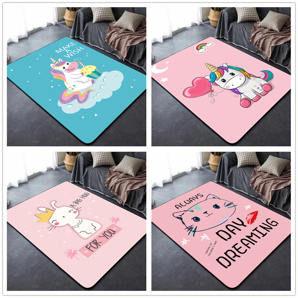 Baby Crawl Rugs Creative Unicorn Pattern 3D Carpet Children's Bedroom Game Gym Play Mats Kids Room Decor Soft Carpets Child Gift