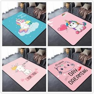 Dywaniki dziecięce Crawl kreatywny wzór jednorożca dywan 3D sypialnia dla dzieci gra siłownia zagraj w maty wystrój pokoju dziecięcego miękkie dywany prezent dla dzieci