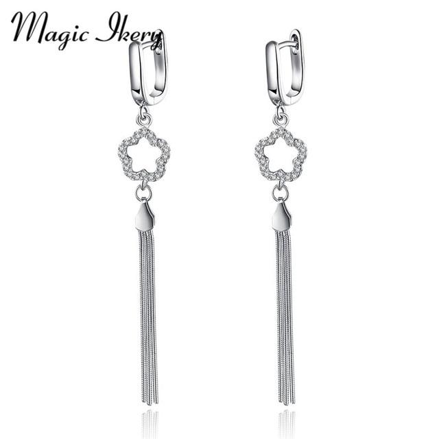 Magic Ikery 925 sterling silver Five-pointed star Tassel for women zirocn Vintage Stud Earrings Fashion Jewelry for MKL077