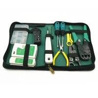 Światłowód Sieci Toolkit Instalatora Narzędzie 10 sztuk Zestaw Narzędzi Do Sieci LAN Tester Kabli Crimper Stripper Set web torbie narzędziowej