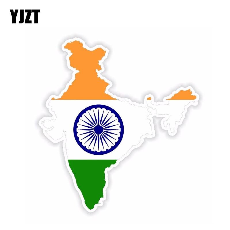 YJZT 12.2CM*13.3CM Creative India Map Flag Car Sticker Motorcycle Helmet PVC Decal 6-1604