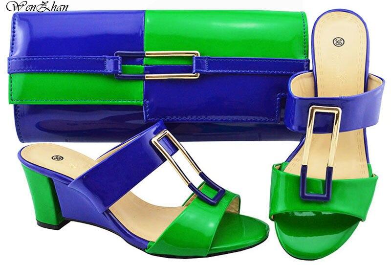 最新のイタリアの靴とマッチングバッググリーンミックスブルーアフリカ女性の靴やバッグウエディングパーティー夏サンダル b88 17  グループ上の 靴 からの レディースパンプス の中 1