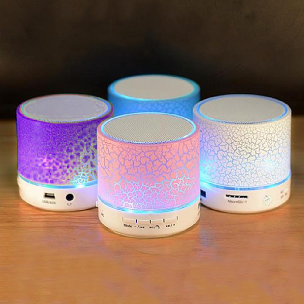 US $4 98  Portable Bluetooth Stereo Speakers Smart LED Light Crack Mini  Wireless Bluetooth Speaker Support TF card/USB flash drive/FM-in Portable