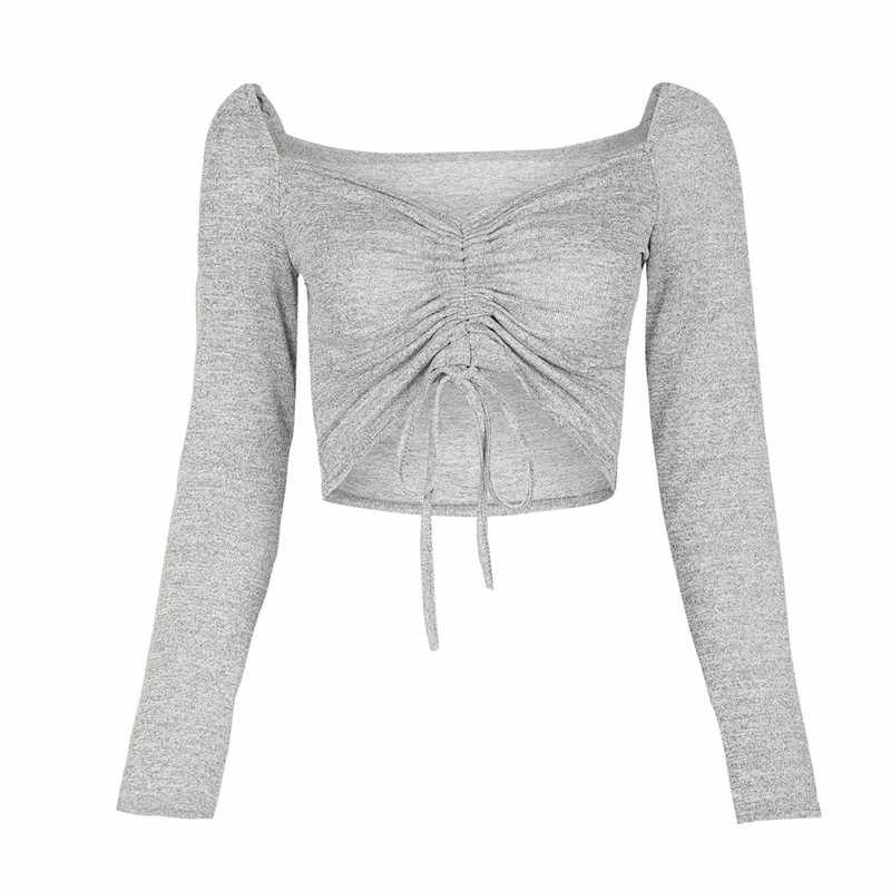 Sexy Navel Wrapped Chest Top Fashion Solid Color Long Sleeve Knitted Crop Top Bandage Knot Decor Office Lady Short Top