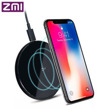 Original ZMI Wireless Charger iphone X /8/8p Note8 S9/S9 Nokia Moto2 NEXUS 2.5D Glass Surface 10W QI Wireless Charger(China)