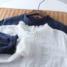 プラスサイズ春女性トップス 王女ブラウスフル綿スタンド襟甘いプルシャツ文学と芸術的なデザイン blusas