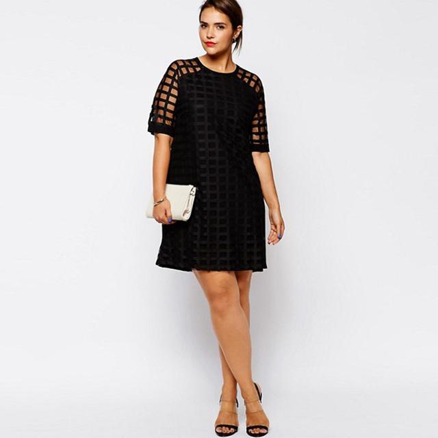 Kissmilk Women Plus Size Checkered Pattern O Neck Sheer Mesh Shirt Dress Shift Dress OL Vintage Party Big Size Dress 5XL 6XL