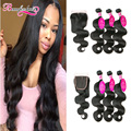 Malaysian Body Wave With Closure Malaysian 7A Unprocessed 3 Bundles Virgin Hair With Closure Hair Bundles With Closure Body Wave