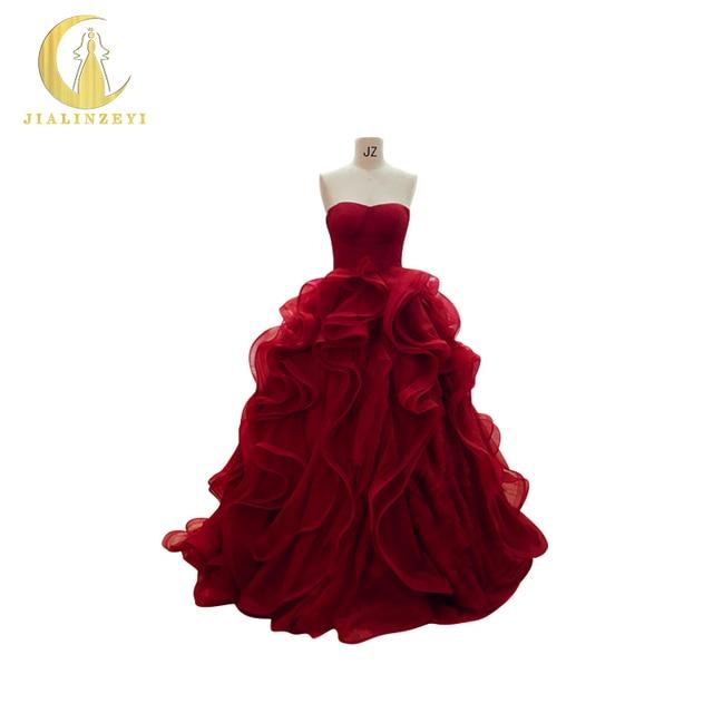 JIALINZEYI Real Sample Strapless Dark Red Ruffle Ball Gown Fashion ...