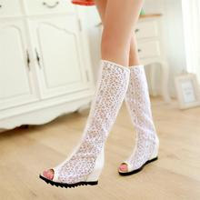 Peep Toe Lace Shoes 2015 High Quality Summer Boots Women Height Increasing Sandals Female Botas Femininas