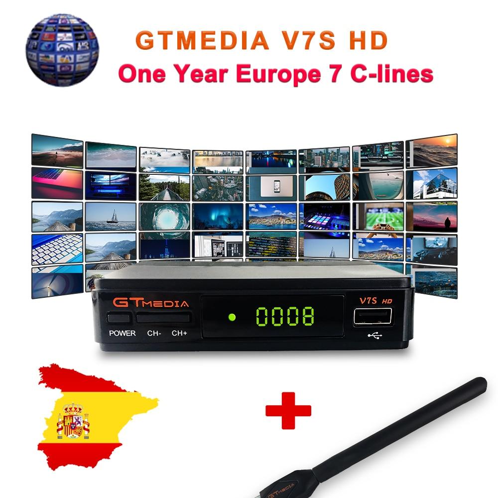 DVB-S2 спутниковый ТВ приемник Freesat V7S 1 год Европа резких перемен температуры GTmedia V7 декодер формата HD для Испании Германия Португалия включают...