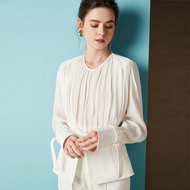 Blouse Women Shirt 100% Silk Pleated Spliced Polyester Design O Neck Tie Long Sleeves 2 Colors Elegant Style Top Fashion 2019