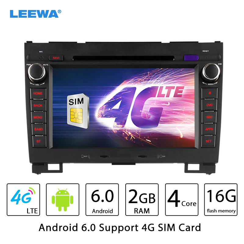 LEEWA 8 Android 6.0 (64bit) DDR3 2G/16G/4G LTE Quad Core Car DVD GPS Radio Head Unit For Great Wall Hover H3/H5 #CA2452-F4 leewa 7 android 6 0 64bit ddr3 2g 32g 4g lte octa core car dvd gps radio head unit for ford transit connect tourneo connect
