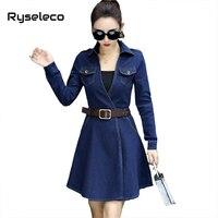 Ryseleco Women Fall Winter Basic Denim Dresses Sexy Slim Flare Short A Line Vestidos Plus Size