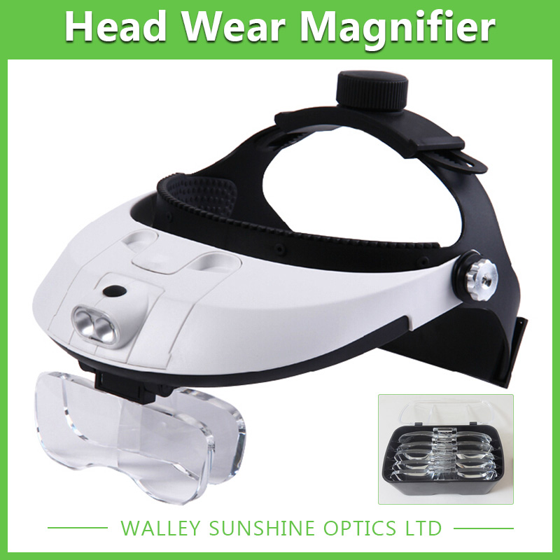 ФОТО Adjustable Head Wearing Magnifier Exquisite Magnifying Glass with 2 LED Lights Dental Surgical Glasses
