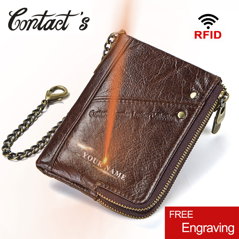 Vintage Rfid Wallets 100% Genuine Leather Men Short Wallet For Cards Male Coin Purse Card Holder Pocket Double Zipper Design