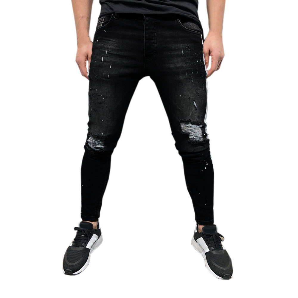 100% Wahr Herren Stretch Denim Hose Distressed Zerrissene Freyed Slim Fit Gedruckt Jeans Trousersz0225