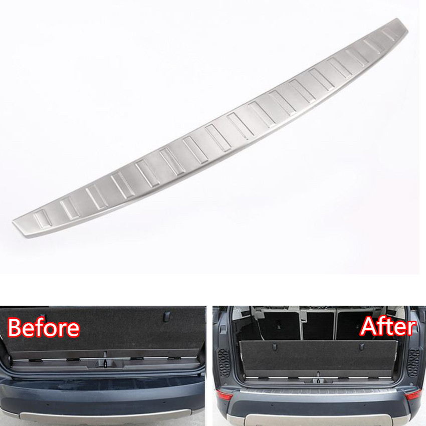YAQUICKA Stainless Steel Car Rear Door Outside Bumper Protector Sill Scuff Plate Trim For Land Rover Discovery 5 17 Car-styling for hyundai new tucson 2015 2016 2017 stainless steel skid plate bumper protector bull bar 1 or 2pcs set quality supplier