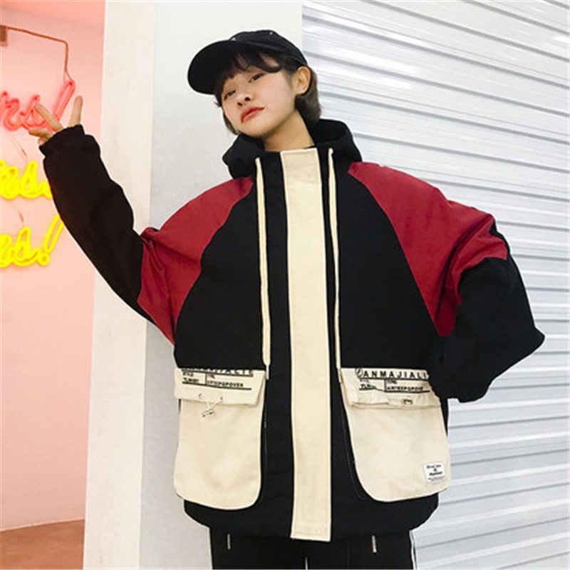 2019 ヴィンテージカラーブロックパッチワークジャケットレディースヒップホップ刺繍ウインドブレーカージャケット春秋のストリートコート N895