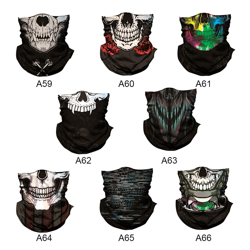 Fashion 3D Skull Magic 2018 Halloween Mask Men Digital Printing Sunscreen Scarf Masks Mask For Men And Women X3