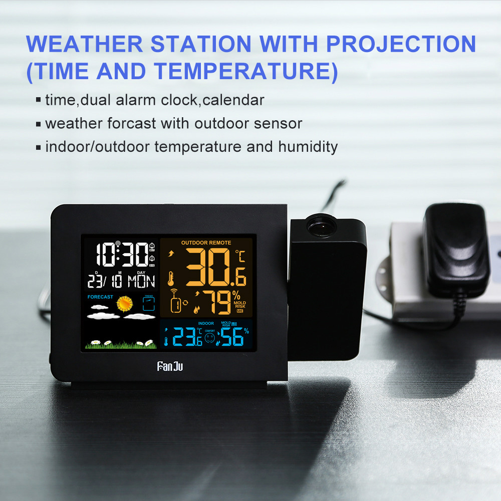 FanJu FJ3391 Weather Station with Projection Weather Monitor DCF Radio control Calendar 7 languages Backlight Alarm ClockFanJu FJ3391 Weather Station with Projection Weather Monitor DCF Radio control Calendar 7 languages Backlight Alarm Clock
