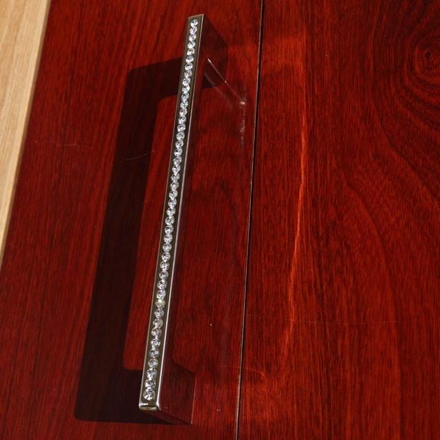"192mm fashion deluxe diamond furniture decoration handle k9 crystal wardrobe cabinet pull 7.6"" chrome silver dresser door handle"
