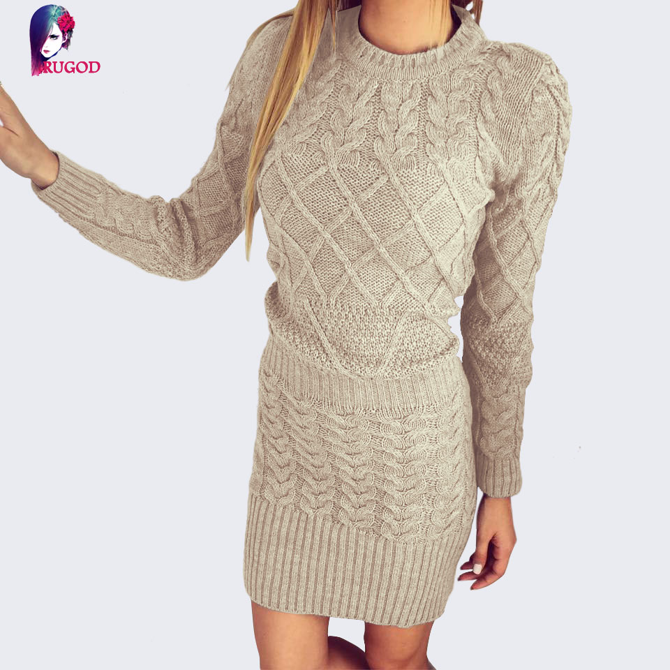 RUGOD Fashion Sexy Bodycon Dresses 2018 Spring Womens Sweater Dress O Neck Long Sleeve Knitted Stretchable Party Dress Vestidos