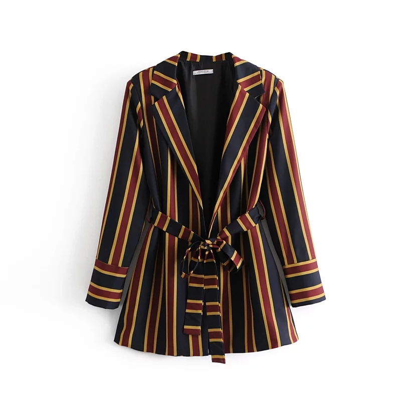 Fashion Women Red Striped Blazer 2019 Spring Autumn Womens Twill Blazers Suits Ladies Notched Collar Chic Tops femme with Sashes