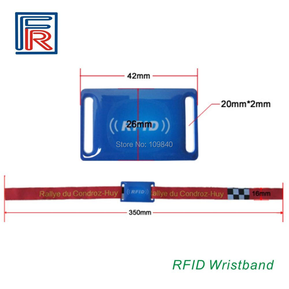 High Security 13.56MHz RFID Bracelet RFID Fabric Woven Wristbands compitable M1 S50 chip Printed Logo 1000pcs