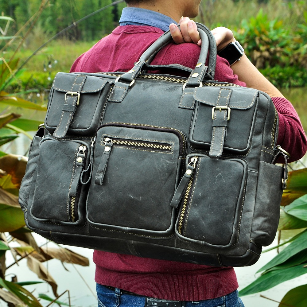 "HTB1N2iFfBTH8KJjy0Fiq6ARsXXak Men Real Leather Antique Large Capacity Travel Briefcase Business 15.6"" Laptop Case Attache Messenger Bag Portfolio 3061-b"
