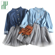 Children clothing lace Mesh Denim Dress Kids princess dress girls long sleeve costumes new year party dress for girls Ball Gown все цены