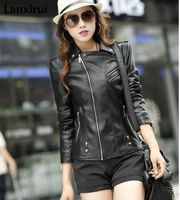 Женская кожаная куртка мотоциклетная кожаная куртка черная тонкая Высокое качество pu кожаная куртка Женское пальто Veste Cuir XXXL XXXXL XXXXXL
