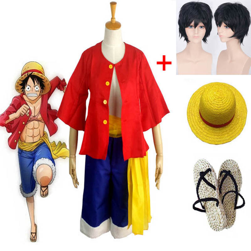 Anime One Piece Luffy Cosplay Costume Shirt Pants Wig Shoes Summer Adults For Halloween Party Carnival Ball Costumes