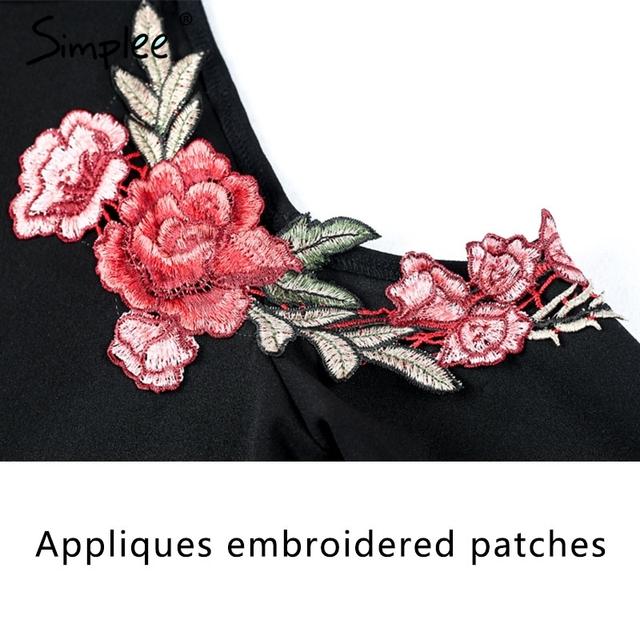 Simplee Flower embroidery bodycon dress Christmas elegant off shoulder short dress Autumn winter halter women dress vestidos