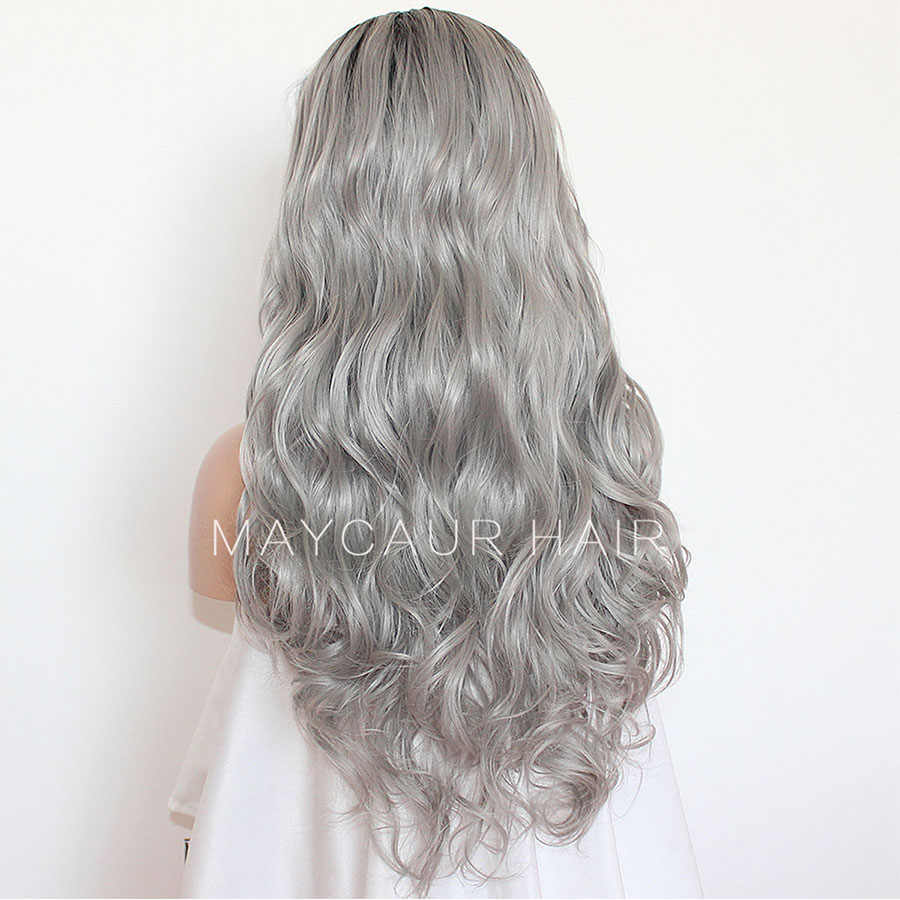 Maycaur черный серый Ombre цвет синтетические парики на шнурках спереди длинные волнистые парики с естественным Hairline Glueless волосы серый парик для женщин