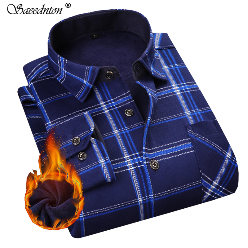 <font><b>Men</b></font> Dress <font><b>Shirt</b></font> 2019 Winter <font><b>Men's</b></font> Long Sleeve Plaid Warm Thick Fleece Lining <font><b>Shirt</b></font> Fashion Soft Casual Flannel Plus Size L-4XL image