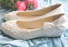 Lace Pearl Rhinestone bow Women's Single Shoes White Red Wedding Shoes pregnantwith Wedges Heel Shoes Bridal Shoes performance