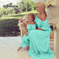 Matching Mother Daughter Clothes Chiffon Short Sleeves Dress Mom Summer Solid Strapless Sexy Off Shoulder Dress Girl Family Look