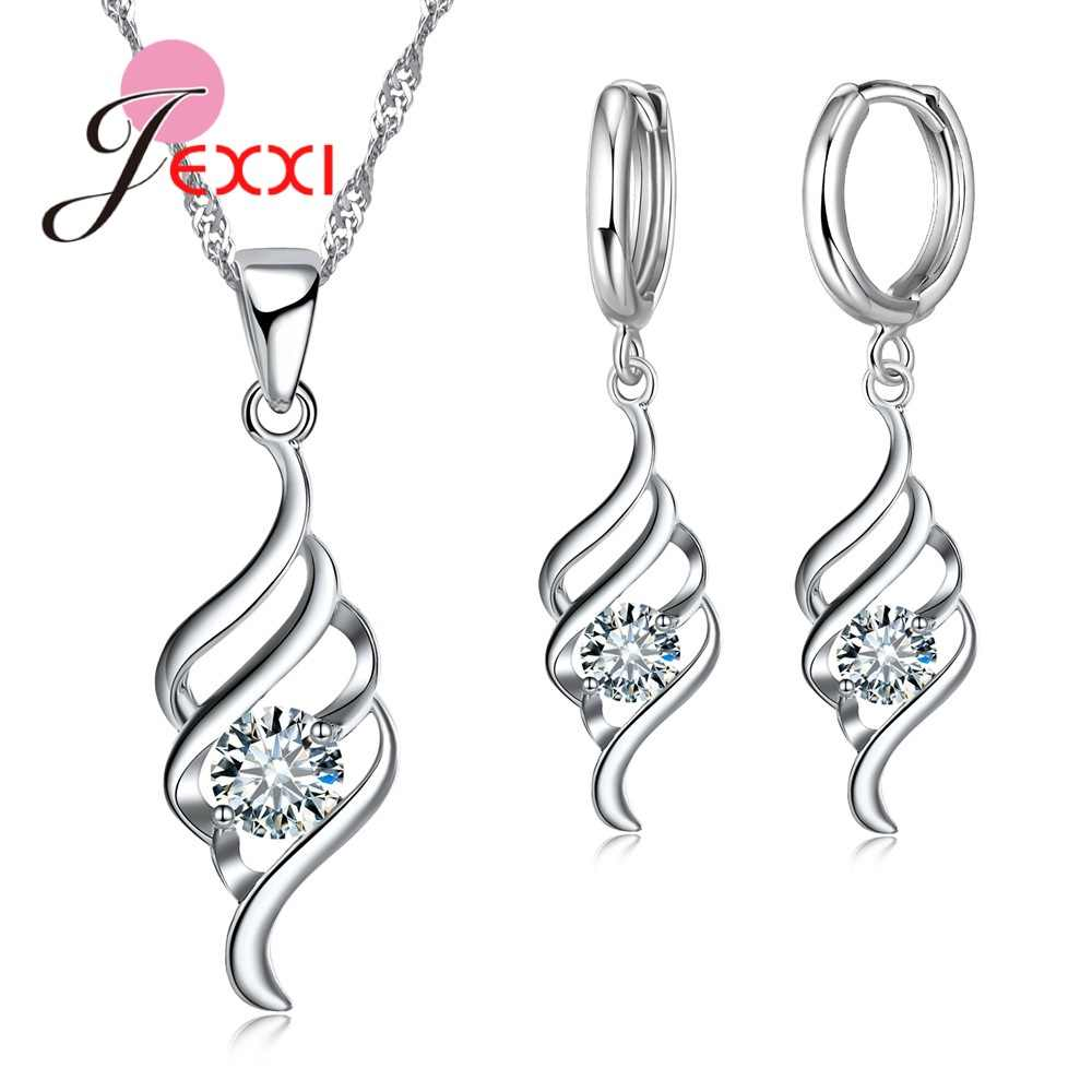 Stylish 925 Sterling Silver Sets Crystal Spiral Jewelry Female Chain Pendants Necklace Earrings Jewelry Set For Women