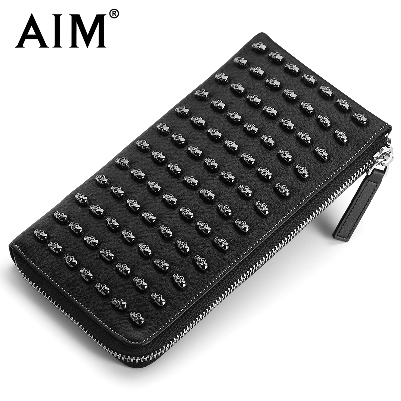 AIM Top Quality Soft Genuine Leather Vintage Men Wallets With Hardware Skulls New Steampunk Cow Leather Clutch Bag for Men skulls printed pullover round collar tank top for men